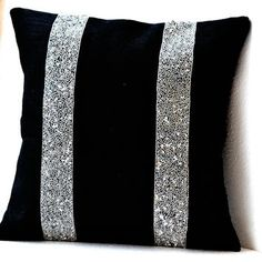 Amore Beaute Handmade Burlap pillow covers- Black burlap silver sequin stripes decorative pillow- burlap decorative pillows- Cushion covers- Silver sequin throw pillows- Black pillow cover- Decorative throw pillows- An exquisite gift Black Pillow Covers, Black Throw Pillows, Silver Pillows, Burlap Pillows, Cushion Covers, Rustic Pillows, Crea Design, Black Headboard, Headboard Cover