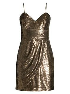 Parker Black Guayana Metallic Mini Dress In Bronze Metallic Mini Dresses, Parker Black, Glitter Dress, Girly, Sequins, Formal Dresses, How To Wear, Spaghetti Straps, Clothes
