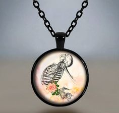 Romantic Gothic Pendant Necklace Skeleton & Pink Roses Glass Cameo Cabochon Tile Necklace Jewellery by MillyMollyMayDesigns on Etsy
