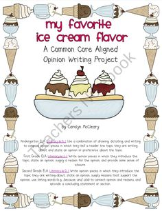opinion writing  products and plates on pinterestmy favorite ice cream flavor  common core aligned opinion writing  product from nurturing