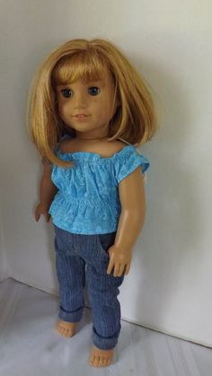 Blue Shirred top Skinny Jeans for American by Newyorkdolldesigns1