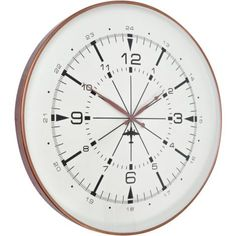 This circular Antique Copper Aviator Wall Clock is a striking clock to display on your wall, or alternatively it would make a perfect gift for any aviation enthusiasts. Available with Free UK Delivery from United Furnishings and Home Accessories York Contemporary Clocks, Modern Wall, Barker And Stonehouse, White Clocks, Online Lighting Stores, Wall Clock Online, Copper Wall, Large Clock, Home Living
