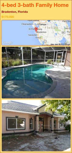 4-bed 3-bath Family Home in Bradenton, Florida ►$170,000 #PropertyForSale #RealEstate #Florida http://florida-magic.com/properties/92322-family-home-for-sale-in-bradenton-florida-with-4-bedroom-3-bathroom