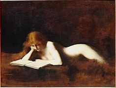 La liseuse (1880-1890). Jean-Jacques Henner (French, 1829-1905). Oil on canvas. Musée d'Orsay.