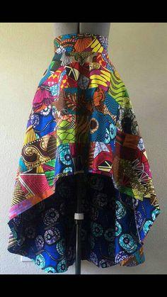 mooie handgemaakte kleurrijke hoge lage rok gemaakt van Afrikaanse weefsel. mooie vloeiende grootte 7 tot en met 18 vrouwen