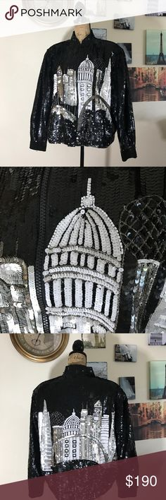 """Vintage Just Fabulous skyline sequined jacket Sz L This jacket is PERFECT for going all out on NYE!!!  Features snaps at the cuffs on the sleeves and large shoulder pads!!  EUC - flawless!!   021111117  measures 23"""" pit to pit flat laid and is 24"""" in length. Just Fabulous Jackets & Coats"""