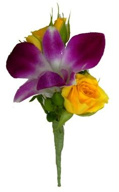 Just Roses Plus- purple orchid with yellow spray roses