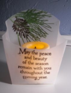 Stampin Up Fry Box, Vellum, Ornamental Pine stamp set.  Cutting Used the crease pad, then versamark & emboss, lastly fold and glue.  This is much cuter than photo and my it's my first attempt so next one will be better.  battery votive candle