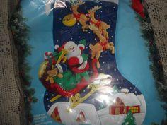 Bucilla Santa OVER THE ROOFTOPS JUMBO Felt Christmas Stocking Kit-Vintage 83118…
