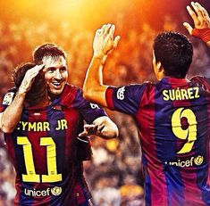 Messi, Neymar Jr & Suarez The Trident! Messi And Neymar, Lionel Messi, Barcelona Football, Football Icon, European Football, Soccer Players, Messi 2015, Rabbi, Chicago Bulls