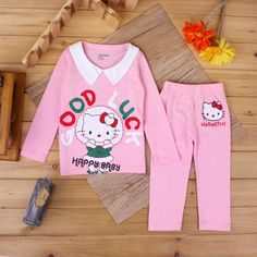 Hello Kitty Pyjamas //Price: $19.99 & FREE Shipping // World of Hello Kitty http://worldofhellokitty.com/lapel-cute-hello-kitty-cat-children-long-sleeved-shirt-pants-home-suits-kids-pajamas-childrens-clothing-girls-sets-t1068/    #toys
