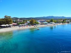 Agiokampos - ferry port and wide pebbly beach; village in Evia, Central Greece Future Travel, Big Island, Greece, River, Vacation, Landscape, Beach, Surface, Outdoor