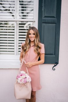 Gal Meets Glam Pretty Pink Dress -Red Valentino dress, Mansur Gavriel bag c/o & Chloe flats