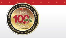 Titanic Branson museum.  This is the 100th anniversary of the sinking of Titanic on April 15, 1912 at 2:20 a.m.