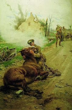 "This beautifully moving painting is called ""Goodbye Old Man"" and shows a British soldier saying farewell to his dying horse. The painting was commissioned by The Blue Cross Fund in 1916 to raise money to help relieve the suffering of horses on active service in Europe. Over one million horses saw service with the British Army during World War I and we treated thousands."