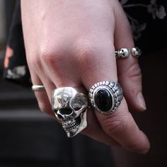 Sterling Silver Jewelry 925 Our Medium Anatomical Skull Ring Small Navajo with Black Onyx and Double Headed Open Band handmade from Sterling Silver. Skull Wedding Ring, Skull Engagement Ring, Piercings, Diamond Choker, Diamond Jewelry, Gold Jewellery, Silver Pendant Necklace, Sterling Silver Jewelry, Onyx Necklace