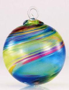 Mt. St. Helens Ash Hand Blown Glass Ornament - Chameleon - 3'' diameter