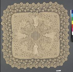 Handkerchief Date: 1873 Culture: Belgian Medium: Cotton on linen, bobbin lace
