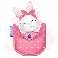 Cute little bunny sitting inside the poc. Boat Cartoon, Cute Cartoon, Cute Animal Drawings Kawaii, Cute Drawings, Bebe Vector, Giraffe Illustration, Watercolor Illustration, Baby Animals, Animal Illustrations