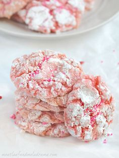 Easy strawberry crinkle cookies are made from a cake mix and are perfect for Valentine's Day. They're soft, chewy and taste as good as they look.