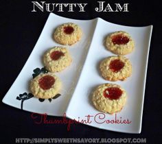 Simply Sweet 'n Savory: Nutty Jam Thumbprint Cookies... should be good with homemade raspberry jam.