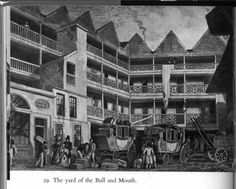 Coaching Inns: the yard of the Bull and Mouth Mary Shelley, Frankenstein, Make Way, Hotel Inn, English Architecture, Old London, A4 Poster, Travel Inspiration, Story Inspiration