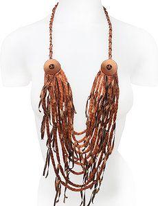 *COLLAR BOTON COBRE*  Lana tubular, cintas de seda, botones y cadena de cobre.