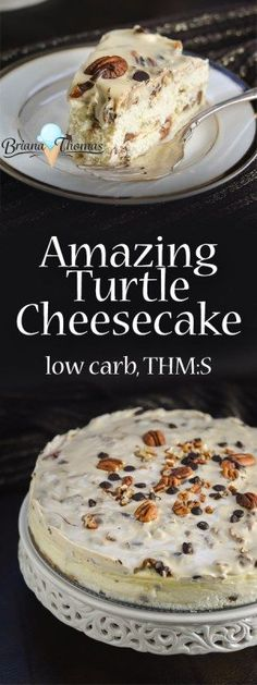 This amazing turtle cheesecake is low carb, sugar free, THM:S, and gluten free!  It's going to be dessert for Christmas this year.