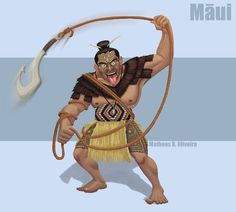 Maui by MatheusBOliveira on DeviantArt Hawaiian Mythology, Polynesian Art, Maori Art, Wood Carving Art, Avatar, Fantasy Weapons, Character Portraits, Manga Drawing, Disney Pixar