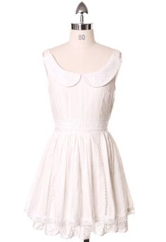Sweet Peter Pan White Lace Dress