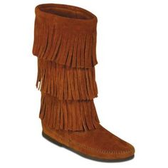 Moccasin Boots with Fringe. Finally got them for Christmas (: