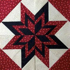 Beautiful red and white star quiltThis striking Scandinavian themed patchwork table runner inThis would be a great 1 large block quilt. layer cake and charm squares?HST in different sizes.On Two collar block Star Quilt Blocks, Star Quilts, Mini Quilts, Scrappy Quilts, Barn Quilt Patterns, Pattern Blocks, Quilting Patterns, Quilting Projects, Quilting Designs
