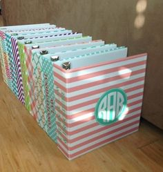 Custom Monogram Binder-these would be better for storing the girls art/school work instead of the boxes I have now! Next DIY project! Binder Organization, School Organization, Organization Station, Organizing Life, Organizing Ideas, Monogram Binder, Monogram Box, Silhouette Cameo, Silhouette Projects