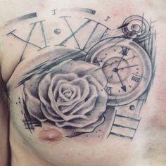 Rose and clock trash polka tattoo. Follow me Instagram: @ash.w.tats Facebook: ash wilkinson tattoo artist