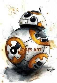 BB8 bb-8 droid Watercolor art Print Star Wars Decor paint The Force Awakens
