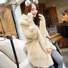 Women's Solid Color Multi-color Coats & Jackets , Casual V-Neck Long Sleeve - USD $ 199.9