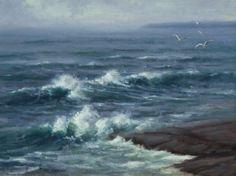 """Matthew J Cutter (b.1974) ~ """"Breaking Surf"""" ~ Oil 12"""" x 16"""""""