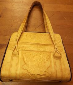 Vintage, IDEAL, Marigold, Leather, Aztec/Rose Design, Organizer Handbag, 1950's #IDEAL #Satchel
