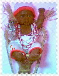 """Art by Hiáli Quiñonez (Beads/Art)  &  Chris Quiñonez (Knitwork)    """"Orisha Kids: Sango"""" (2003)"""