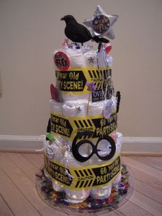 Over the Hill Adult Diaper Cakes by CakeAByeBaby on Etsy, $110.00