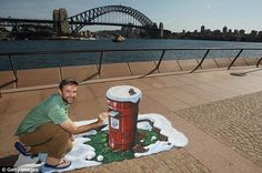Letter home: Joe Hill with an image showing an iconic British post box bursting out of a Sydney pavement