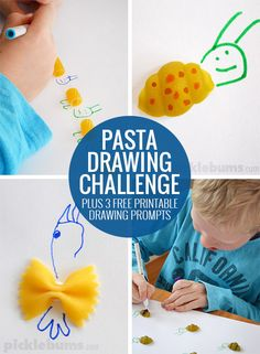 Pasta Drawing Prompts - a fun drawing challenge! Download our free printable drawing prompts if you don't have any pasta on hand