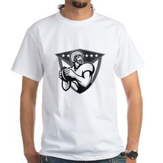 American Football Player Throwing Ball Grayscale T