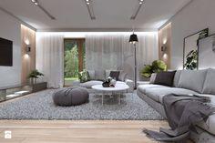 (Zawiercie) Projekt domu jednorodzinnego 12 - Duży salon, styl nowoczesny - zdjęcie od BAGUA Pracownia Architektury Wnętrz