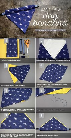 Give your four-legged friends some style by making your own DIY dog bandana. Thi… Give your four-legged friends some style by making your own DIY dog bandana. This simple project will only take a few minutes on the sewing machine. Sewing Patterns Free, Free Sewing, Dog Clothes Patterns, Sewing Hacks, Sewing Crafts, Sewing Tips, Sewing Tutorials, Dog Crafts, Sewing Projects For Beginners