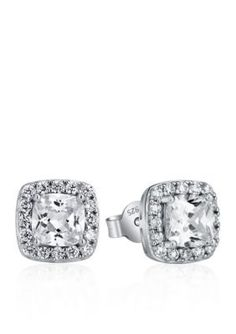 Belk & Co.  Platinum Plated Sterling Silver Cubic Zirconia Earrings - Silver - One Size