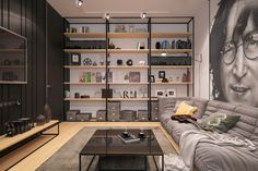 Large shelving in the living room