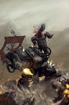Black Templar's Dreadnought trudging into battle Warhammer 40k Art, Warhammer Fantasy, Warhammer Models, Space Marine Dreadnought, Chaos Dreadnought, Arte Steampunk, Grey Knights, Space Wolves, Science Fiction Art
