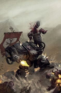 Warhammer 40k Artwork: Dreadnought wading into action.
