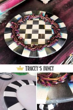 I love teaching! And I recently had the honor of teaching two of my favorite techniques, stripes and checks! - By Tracey's Fancy Stripes Diamond Furniture, Halloween Coffin, Whimsical Halloween, Gilding Wax, Fancy Words, Paint Companies, Dixie Belle Paint, Mineral Paint, Charger Plates